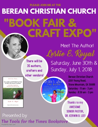Leslie Berean Book Signing June 30 - Made with PosterMyWall